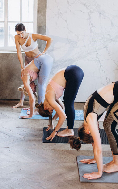 a group of women performing standing forward bend pose